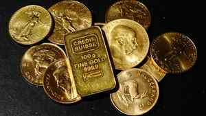 Gold coins are on display for sale on November 9, 2010 in Los Angeles, California.