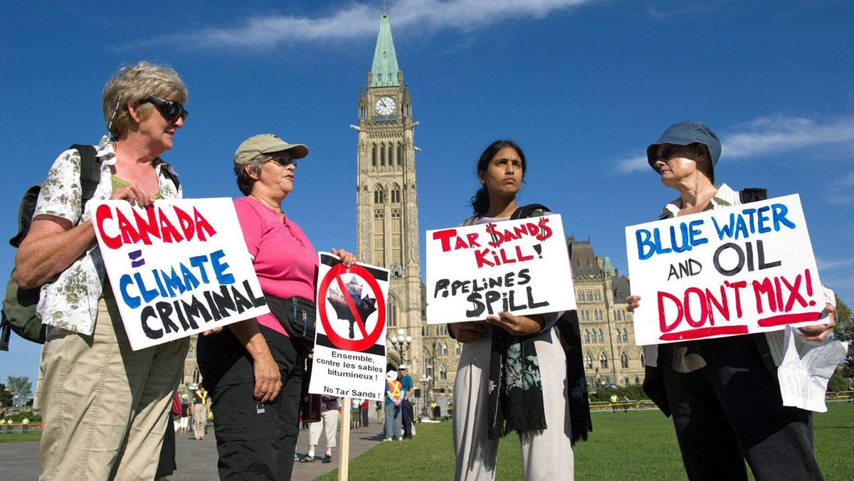 The Council of Canadians and Greenpeace Canada protest against Alberta oil-sands development on Parliament Hill in September of 2011.
