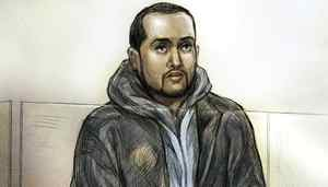 Mohamed Hersi is seen in this artist's rendition during court proceedings in a Ontario Court of Justice courtroom in Brampton, Ont., Wednesday, March 30, 2011.