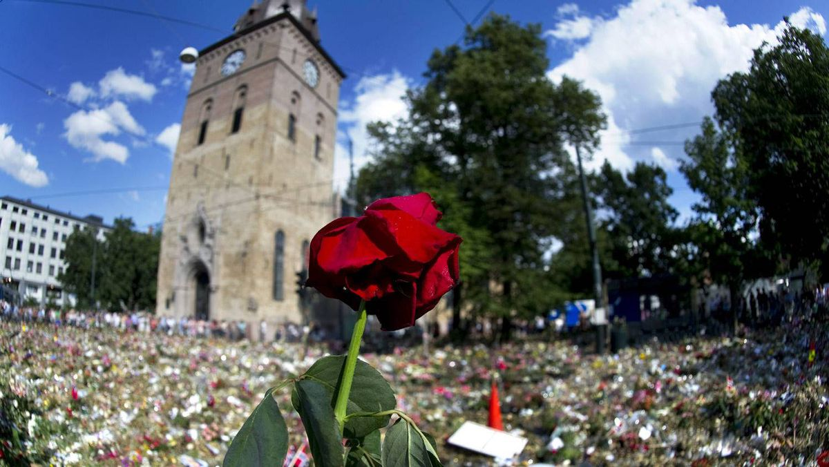 A rose is seen on a fence outside Domkirken church surrounded with a floral tribute to the victims of the attack on government buildings and massacre on the youth camp of the Norwegian Labour Party in Oslo on July 29 , 2011.