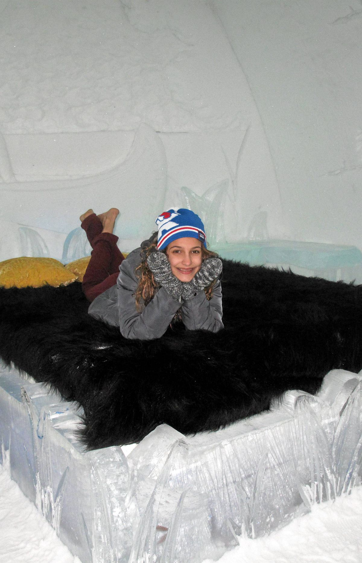 Want to sleep in a castle of ice? Hotel de Glace, a short drive outside Quebec City, is open until March 25. (Yes, there is a real mattress - not just ice - under the fur throw.)