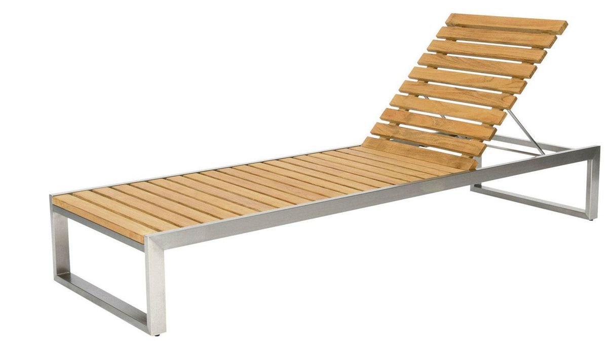 Teak and stainless-steel Cityscape chaise lounge, $2,495 through www.andrewricharddesigns.com.
