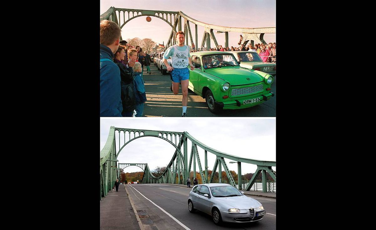 "Combo shows two pictures shows the Glienicke bridge (Glienicker Bruecke), which links Berlin to the city of Potsdam in the state of Brandenburg in Potsdam taken on November 11, 1989 with a jogger running past a Trabant car, and the same view (bottom) taken twenty years later on November 6, 2009 with. The bridge was often used as a place where spies were ""exchanged"" between west Berlin and east Germany. Germany will celebrate the 20th anniversary of the fall of the wall on November 9, 2009."