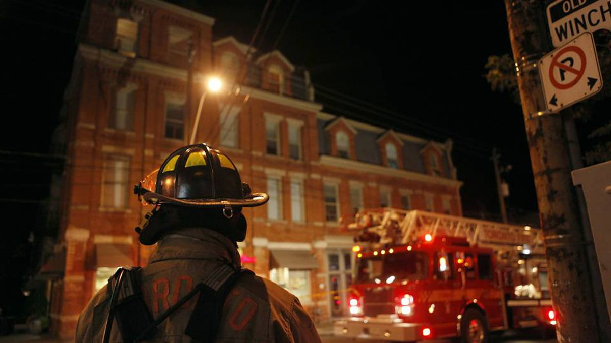 Firefighters respond to a fire at the Winchester Hotel in Toronto's Cabbagetown on Wednesday. Della Rollins for The Globe and Mail