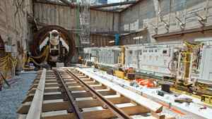 The start of tunnel construction as part of the Toronto-York Spadina subway extension project on June 17, 2011