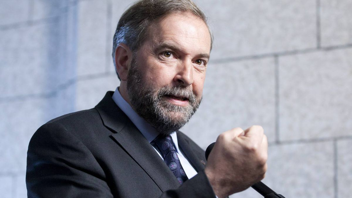 NDP Leader Tom Mulcair speaks with reporters in Ottawa on June 6, 2012.