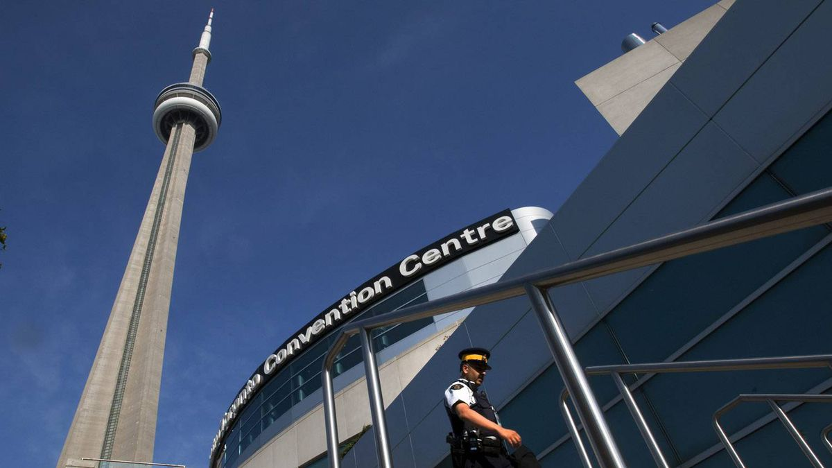 An RCMP officer patrols outside the Metro Toronto Convention Centre on Friday June 25, 2010.