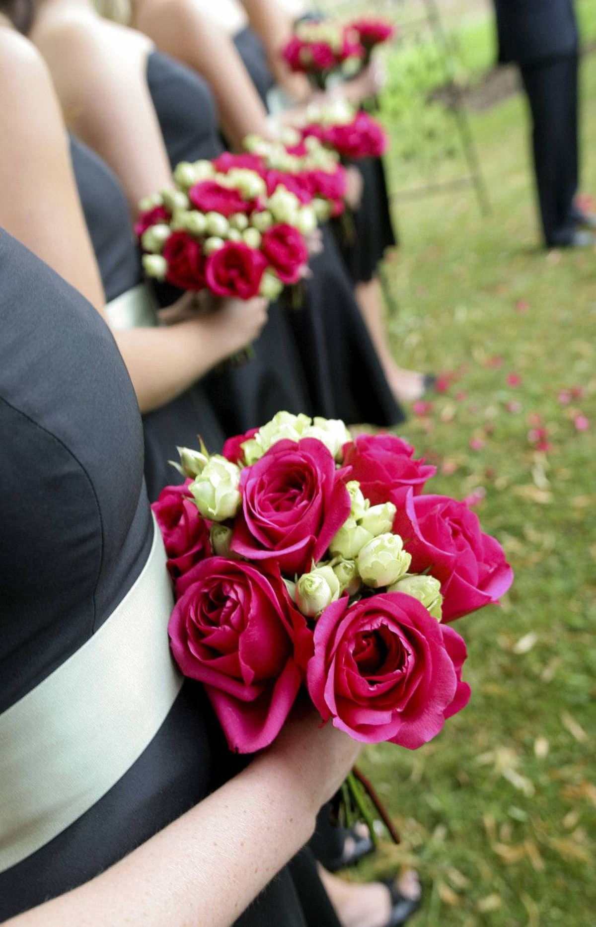 ANTI-MATCHING That parade of bridesmaids in matching pink-taffeta gowns? So 2011. Today's ceremonies make room for individual differences, including attendant dresses that flatter all body and skin types, even if they differ in colour and style. The anti-matching trend extends to engagement rings combining white and gold metals.