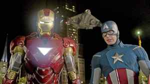 """Iron Man, portrayed by Robert Downey Jr., left, and Captain America, portrayed by Chris Evans, in a scene from """"The Avengers"""""""