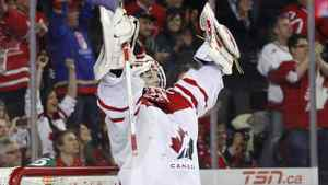 Team Canada's goalie Mark Visentin posted a shutout in the squad's 4-0 bronze-medal win over Finland Thursday afternoon.