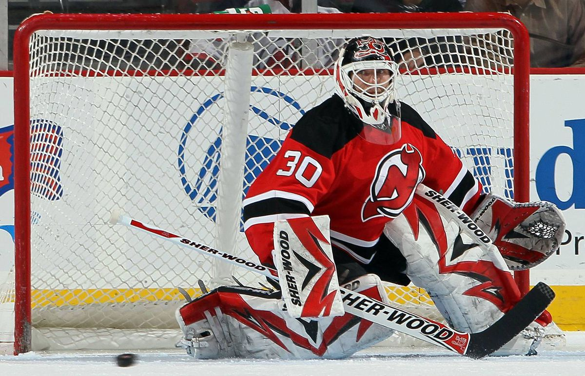 Martin Brodeur of the New Jersey Devils makes a save against the Florida Panthers at the Prudential Center on January 20, 2010 in Newark, New Jersey.