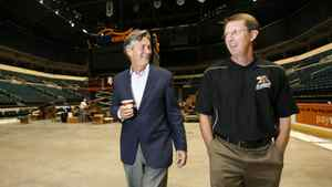 Former Manitoba Premier Gary Doer walks down memory lane with Mark Chipman, Chairman of the True North, as they walk through the MTS Centre Wednesday, September 2, 2009 and remember the struggles they faced when they were building the arena in downtown Winnipeg.