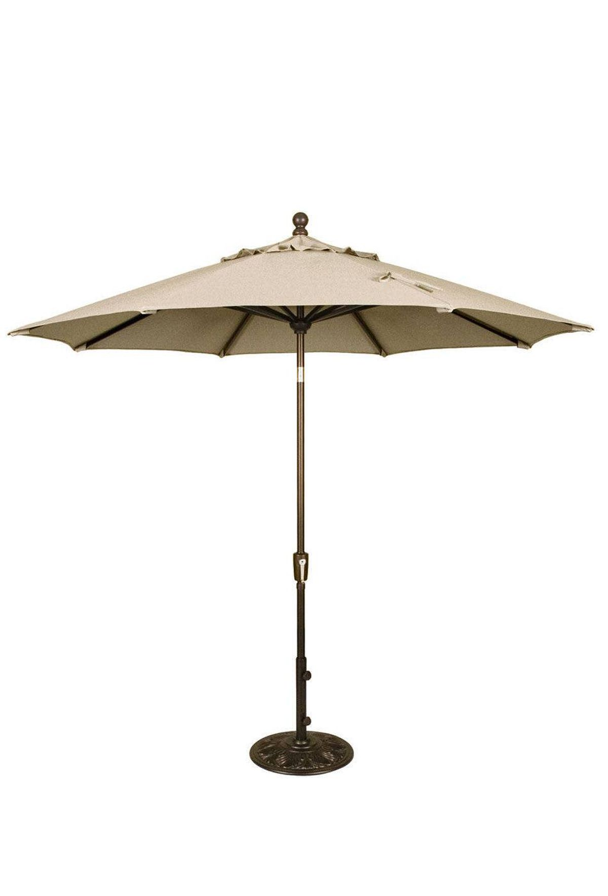 Inside Out's 10-foot-wide polyester market umbrella boasts a rust-free aluminum frame and adjustable tilting function. (Bases, starting at $59.99, are sold separately.) $110 through www.insideoutpatio.ca.