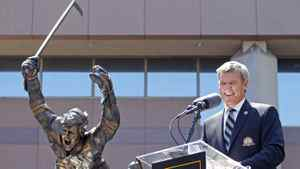 Hockey legend Bobby Orr smiles at the unveiling of a statue depicting the famous scene of Orr flying through the air immediately after scoring 'The Goal' that clinched the NHL 1970 Stanley Cup Championship in Boston, Massachusetts May, 10 2010.