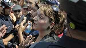 Kelly Pflug-Back, talks at Allen Gardens during a G20 protest on June 25, 2010.