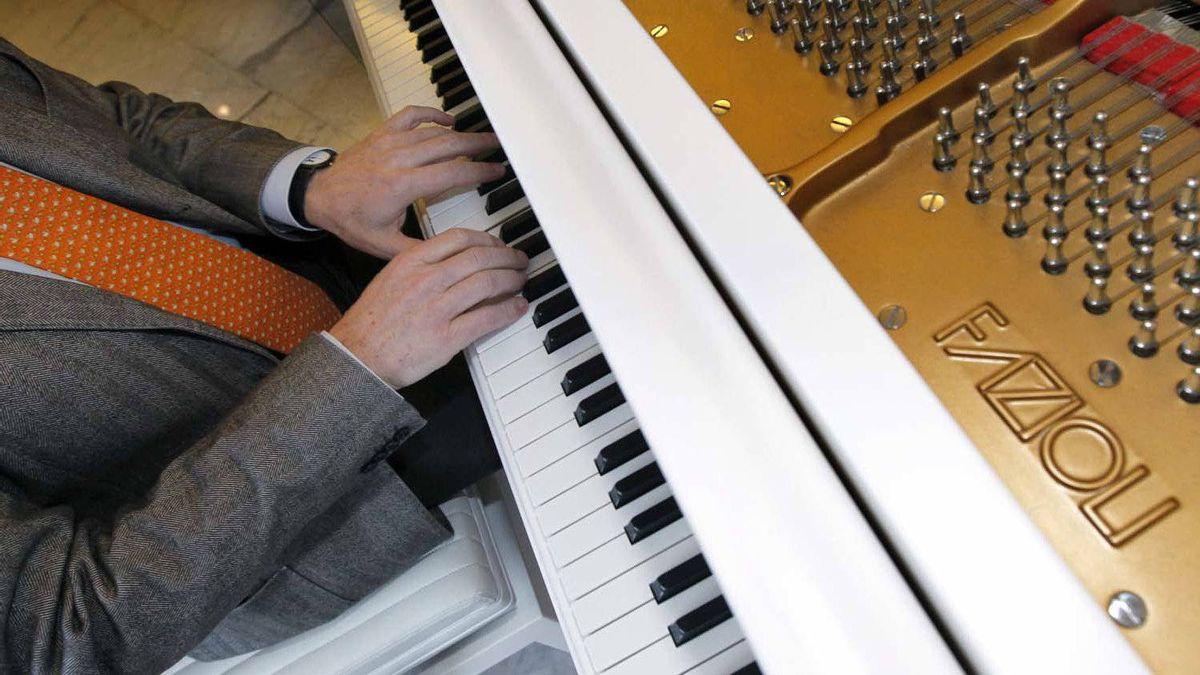 Paolo Fazioli, Italian piano magnate, plays a Fazioli piano in the lobby of the Fairmont Pacific Rim hotel in Vancouver in January.