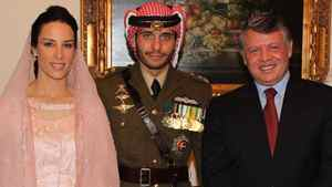 Princess Basmah al Hussein, formerly Basmah Hasan of Stratford, Ont., left, and groom Prince Hamzah al Hussein of Jordan are seen with Jordan's King Abdullah II.