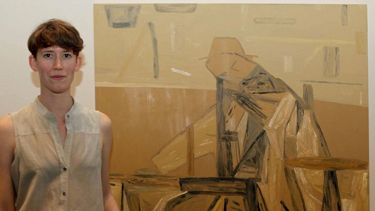 Vancouver artist Rebecca Brewer poses next to her award-winning painting.