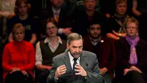 NDP leadership candidate Thomas Mulcair speaks during an all candidates debate in Vancouver, B.C., on Sunday March 11, 2012. The debate is the last before the party elects a new leader to replace the late Jack Layton at a convention March 23 and 24 in Toronto.