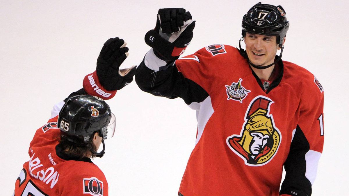 Ottawa Senators' Filip Kuba, right, gets a high five from teammate Erik Karlsson after scoring the game winning goal against the Montreal Canadiens in over-time in Ottawa on Friday, March 16, 2011. kuba is finsihing a 3-year contract that paid 3.7-million dollars a season.