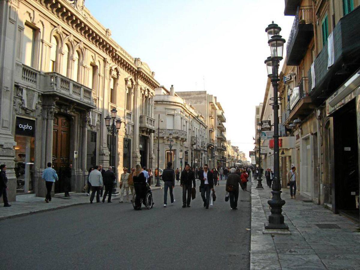 A view of Reggio Calabria's pedestrian-only Corso Garibaldi shopping strip and venue for the daily evening passeggiata, or stroll.