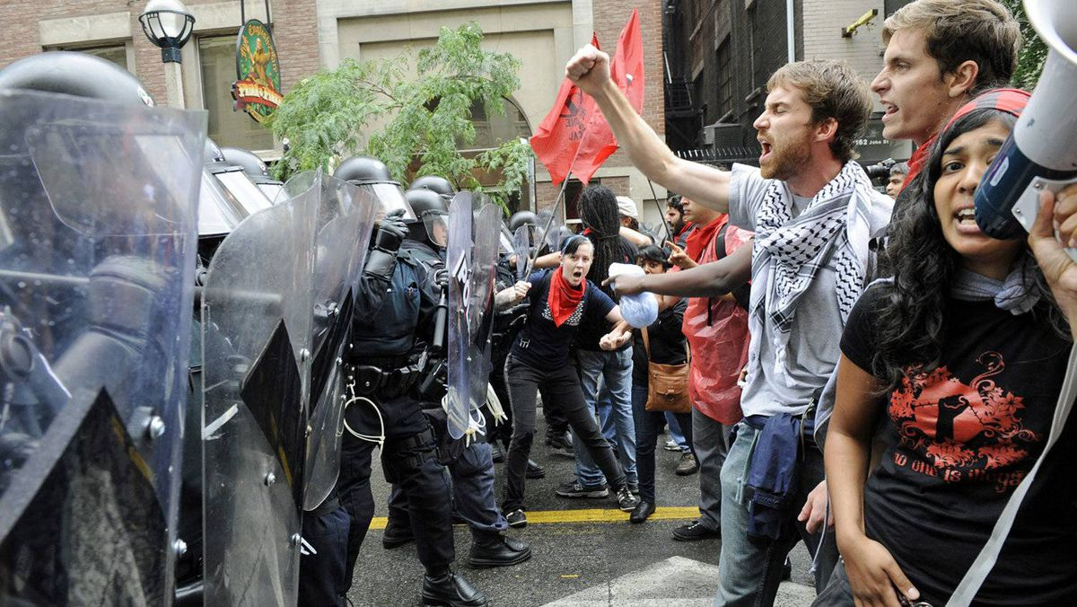 Citizens clash with police during the G20 summit in Toronto.