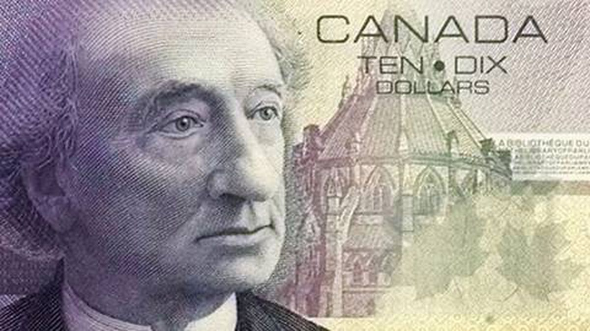 Canada's $10 bill depicts the country's first prime minister, Sir John A. Macdonald