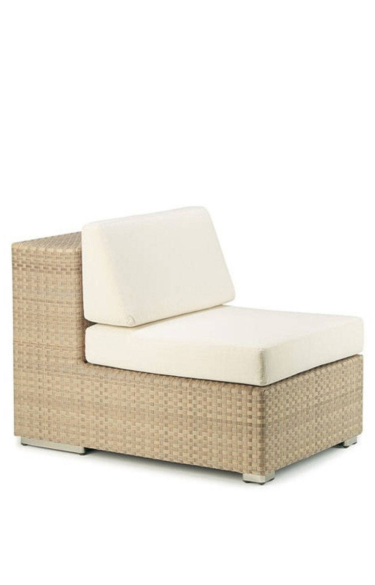 THE POST-MODERNIST Dedon's lounge module with pillows $2,470 at studio b (www.studiobhome.com).