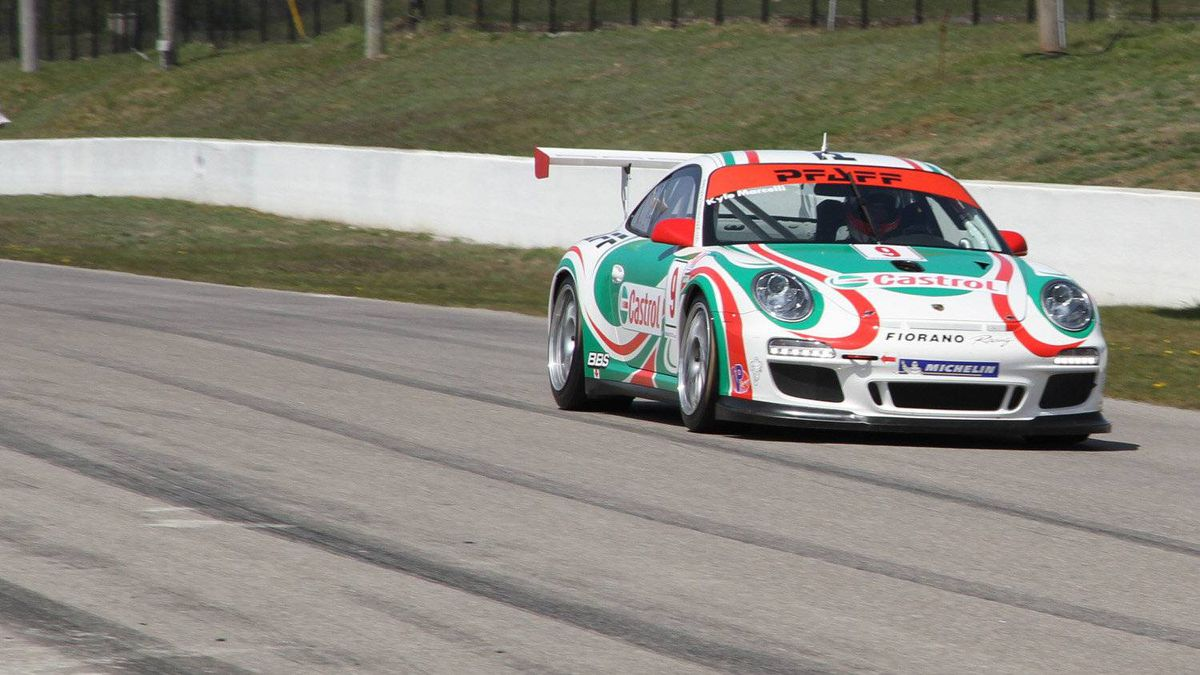 Kyle Marcelli accelerates down the front straightaway at Mosport in the Pfaff Motorsports car.