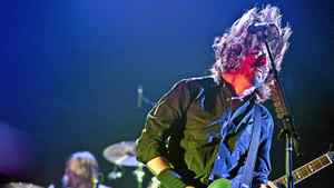 Dave Grohl performs with his band the Foo Fighters to a packed Air Canada Centre in Toronto on July 9, 2011.