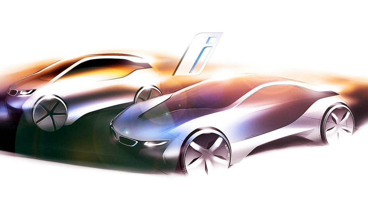 """The first BMWi models, """"revealed"""" so far only in the form of conceptual sketches, will be available in two model variants, the i3, which will likely be four-door hatch and powered purely by electricity and the i8, possibly a sportier two-door"""