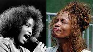 Whitney Houston, right, as a rising star in 1988, and left in 2003 as a troubled shell of her former self.