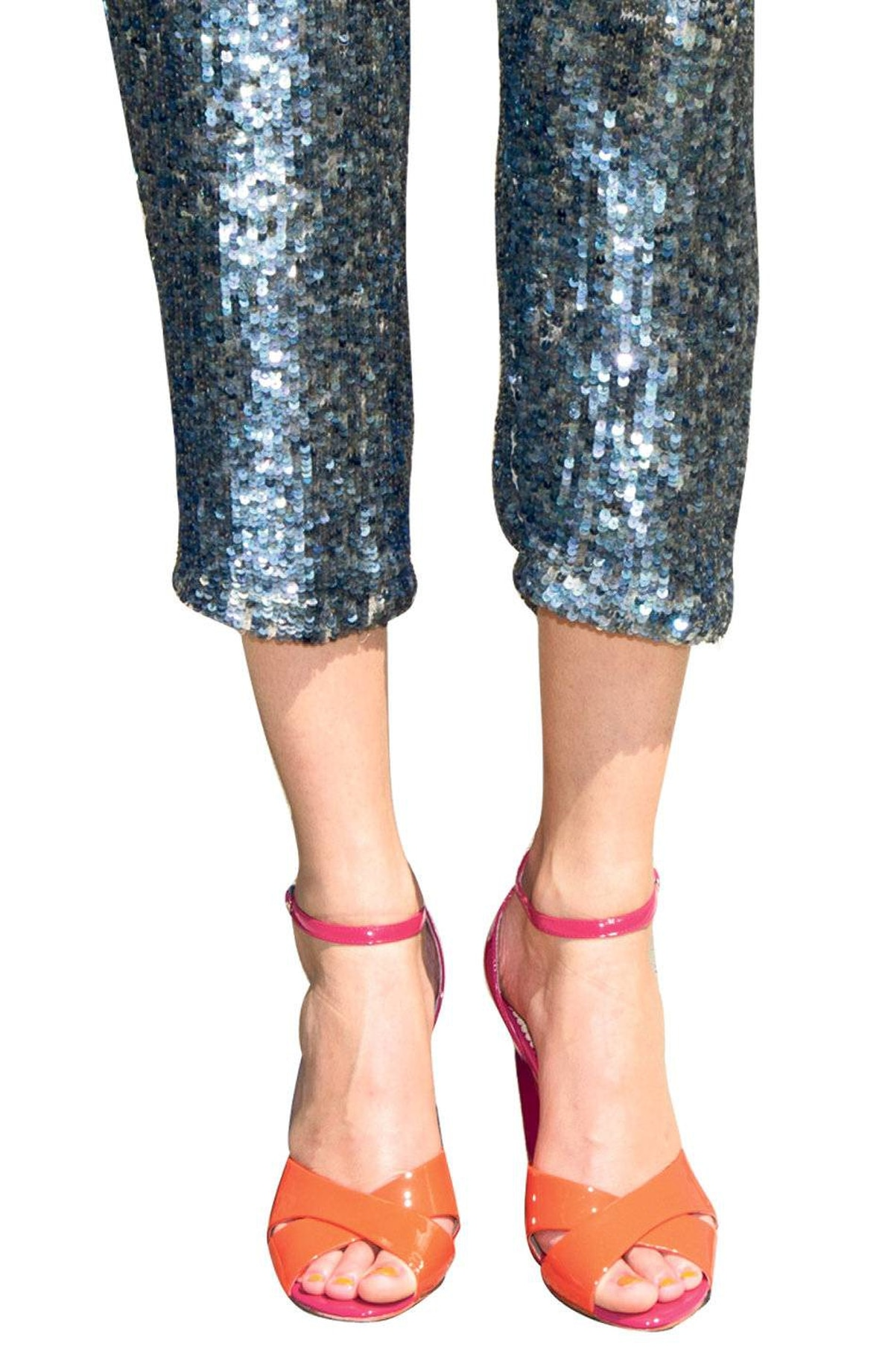 It's official: fluoro pink and orange are the new black and white ... until next season. Le Chateau heels, $89.95. Adam sequined pants, $535 at the Bay.