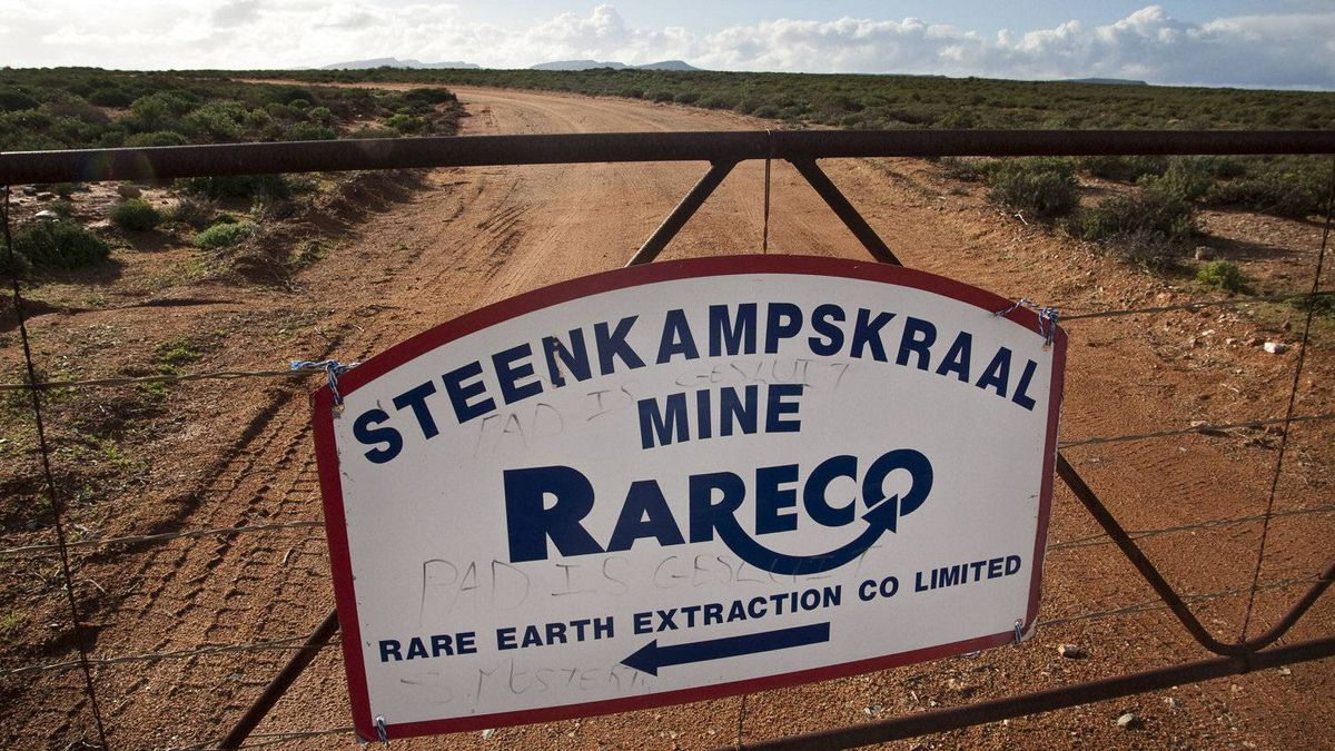 The entrance gate to Steenkampskraal mine, located in a remote corner of South Africa's Western Cape province. The mine was abandoned in 1963 and is now being turned into a rare earths mine.