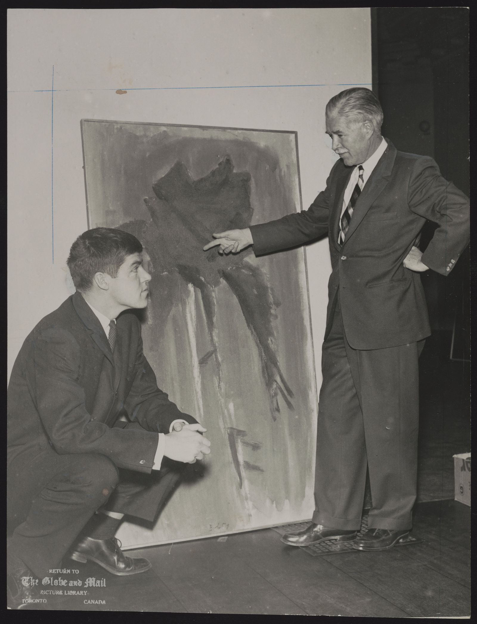 Jack BUSH Artist It's Mighty Lak a Rose, Even When in Abstract Jack Bush (standing) and son Robert view father's study. 'A Rose is a Rose'