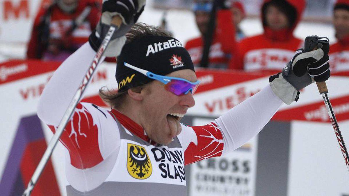 Devon Kershaw of Canada celebrates winning the FIS World Cup men's cross-country skiing 1.6km free sprint competition in Szklarska Poreba.