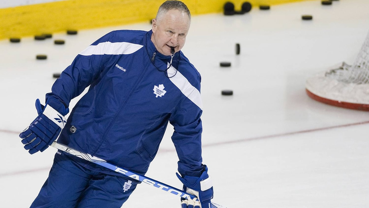 Randy Carlyle skates at the Bell Centre in Montreal Saturday.
