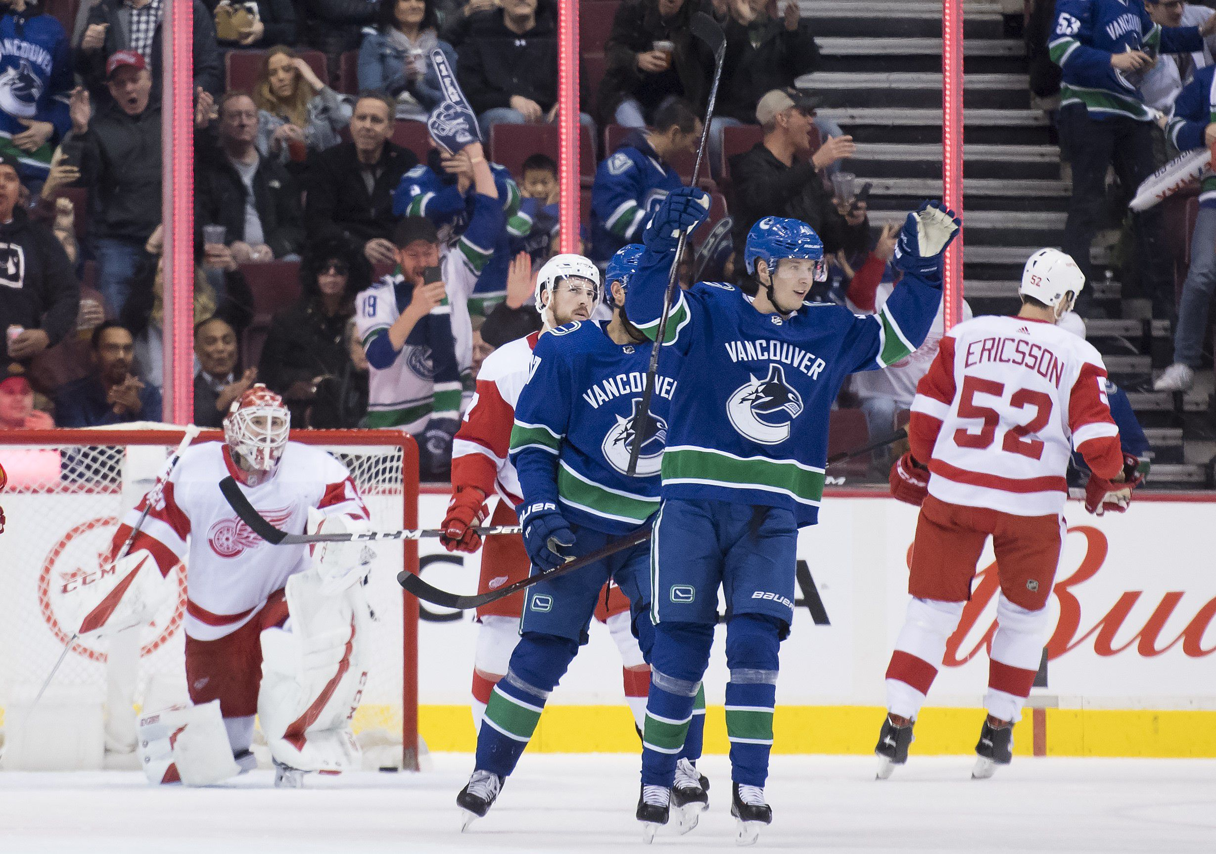 e95c40345 Elias Pettersson leads Canucks to victory over Red Wings in return from  injury - The Globe and Mail