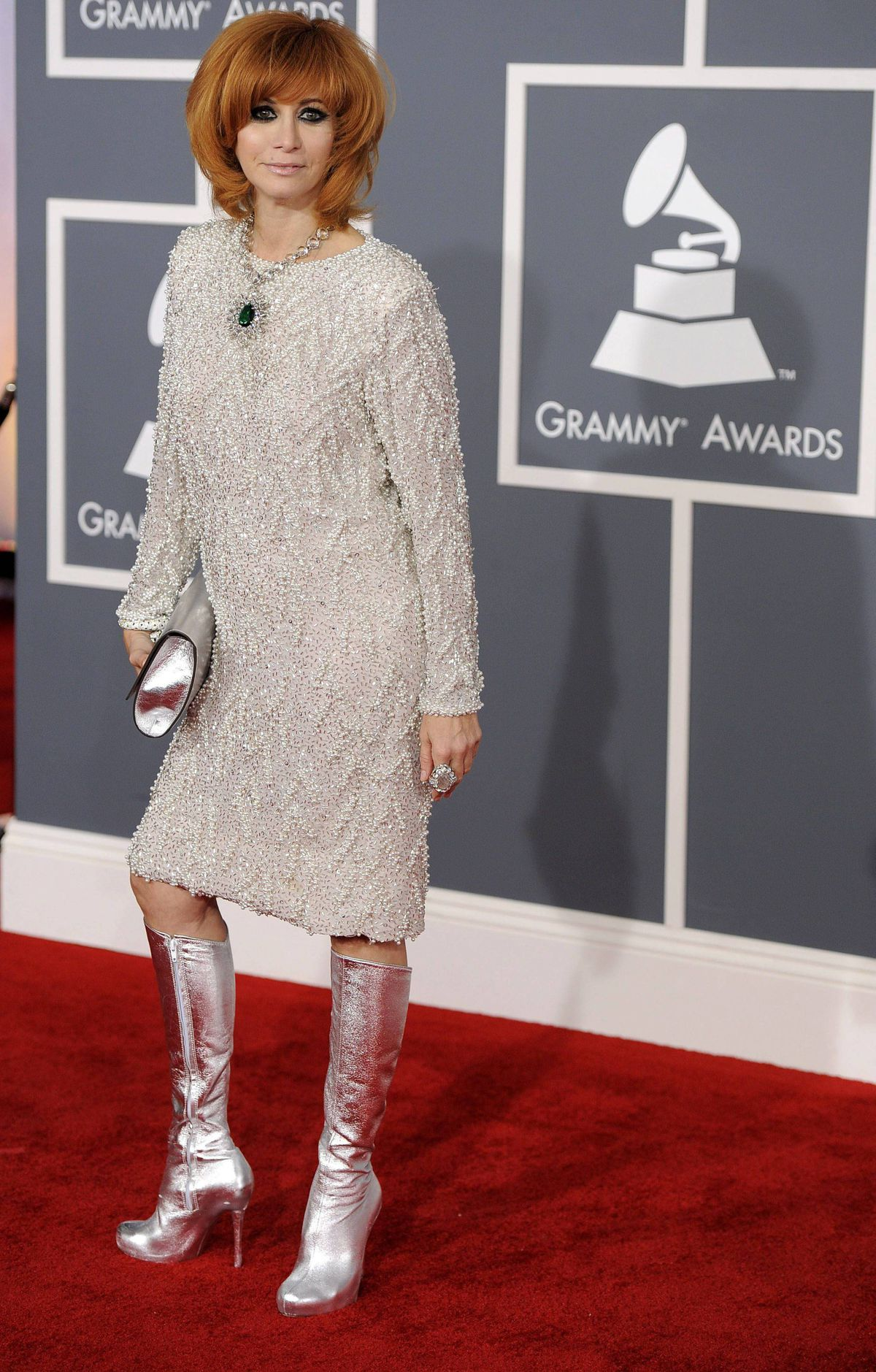 Linda Ramone arrives at the 54th annual GRAMMY Awards on Sunday, Feb. 12, 2012 in Los Angeles.