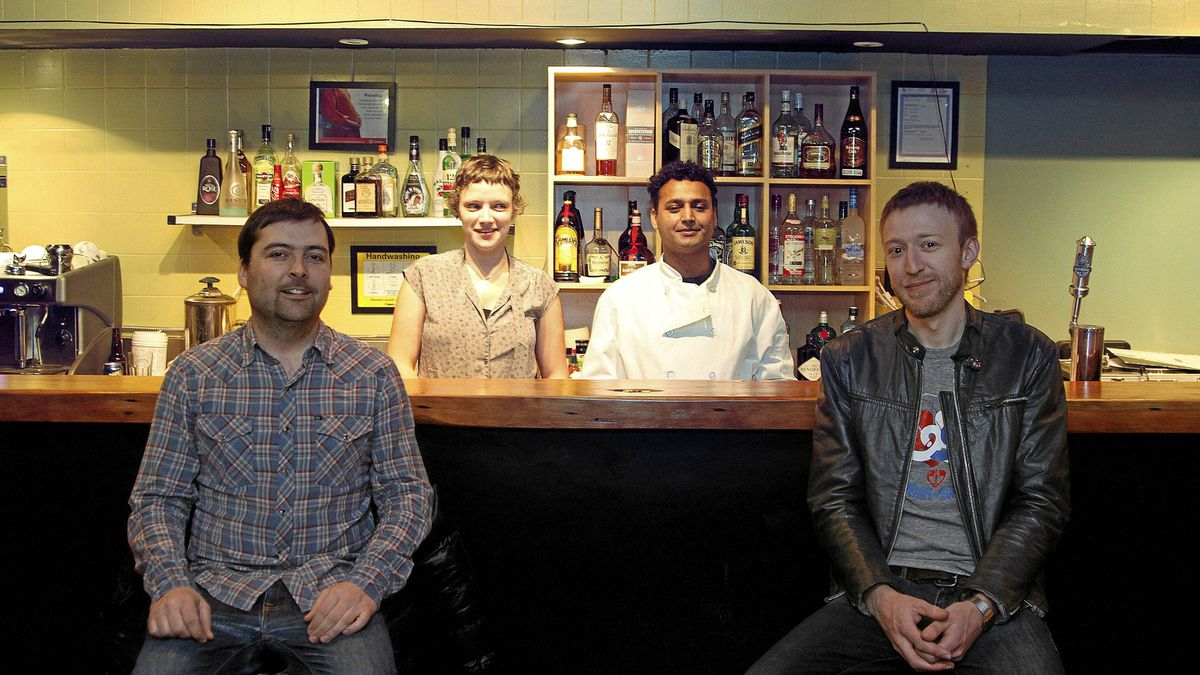 Partners Vincent Pollard (L), Emily Alfred, Ronti Hosen and Chris Flanagan at their joint venture, Stella Restaurant.