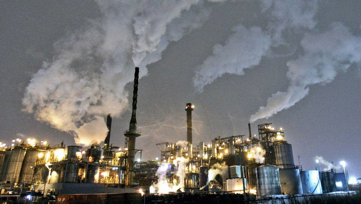 Smoke rises from chemical manufacturing stacks in Hamilton, Ont., in February of 2007.