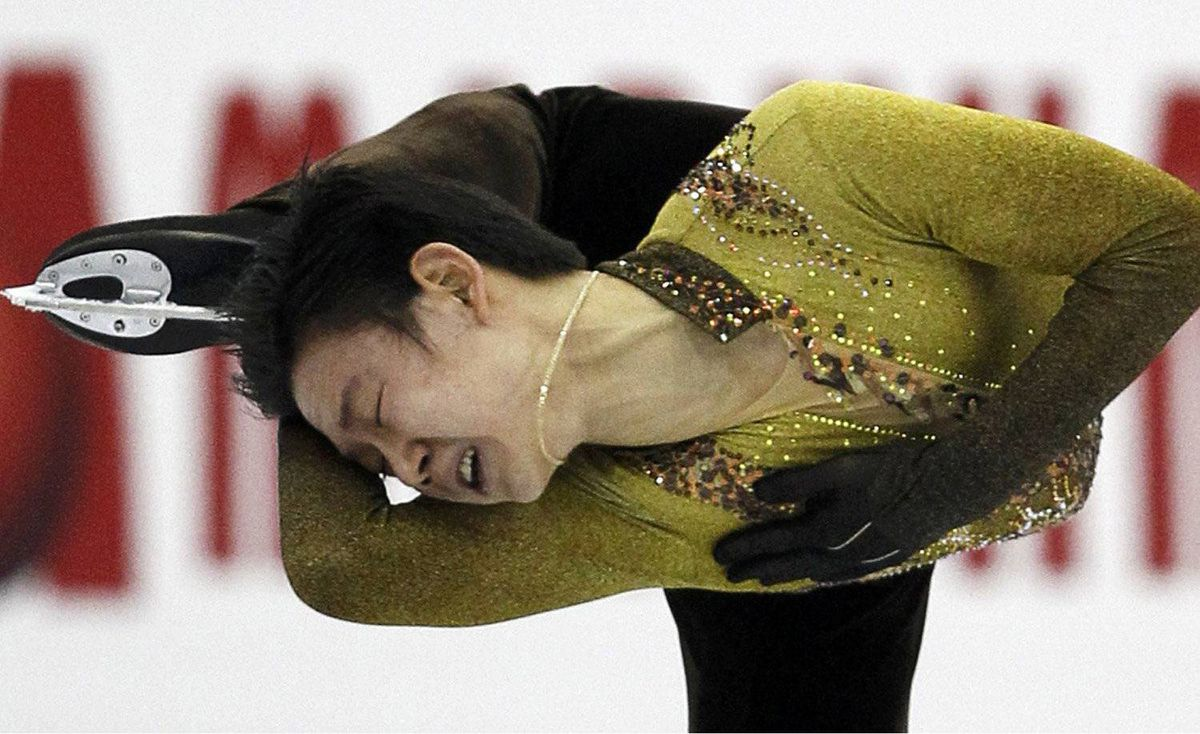 Denis Ten of Kazakhstan performs during the men's free skating event at the ISU World Figure Skating Championships in Nice March 31, 2012.