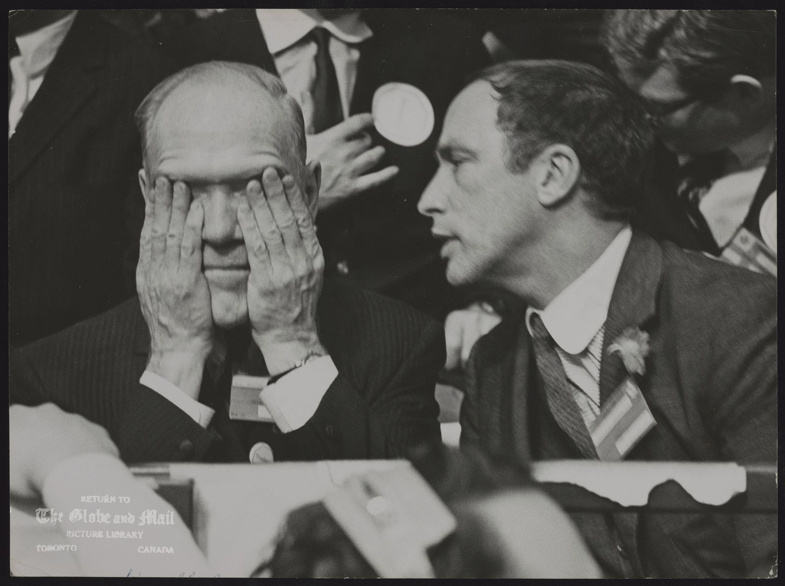 Mitchell SHARP Mitchell Sharp, left, at Liberal Leadership conference with Pierre Trudeau (right)