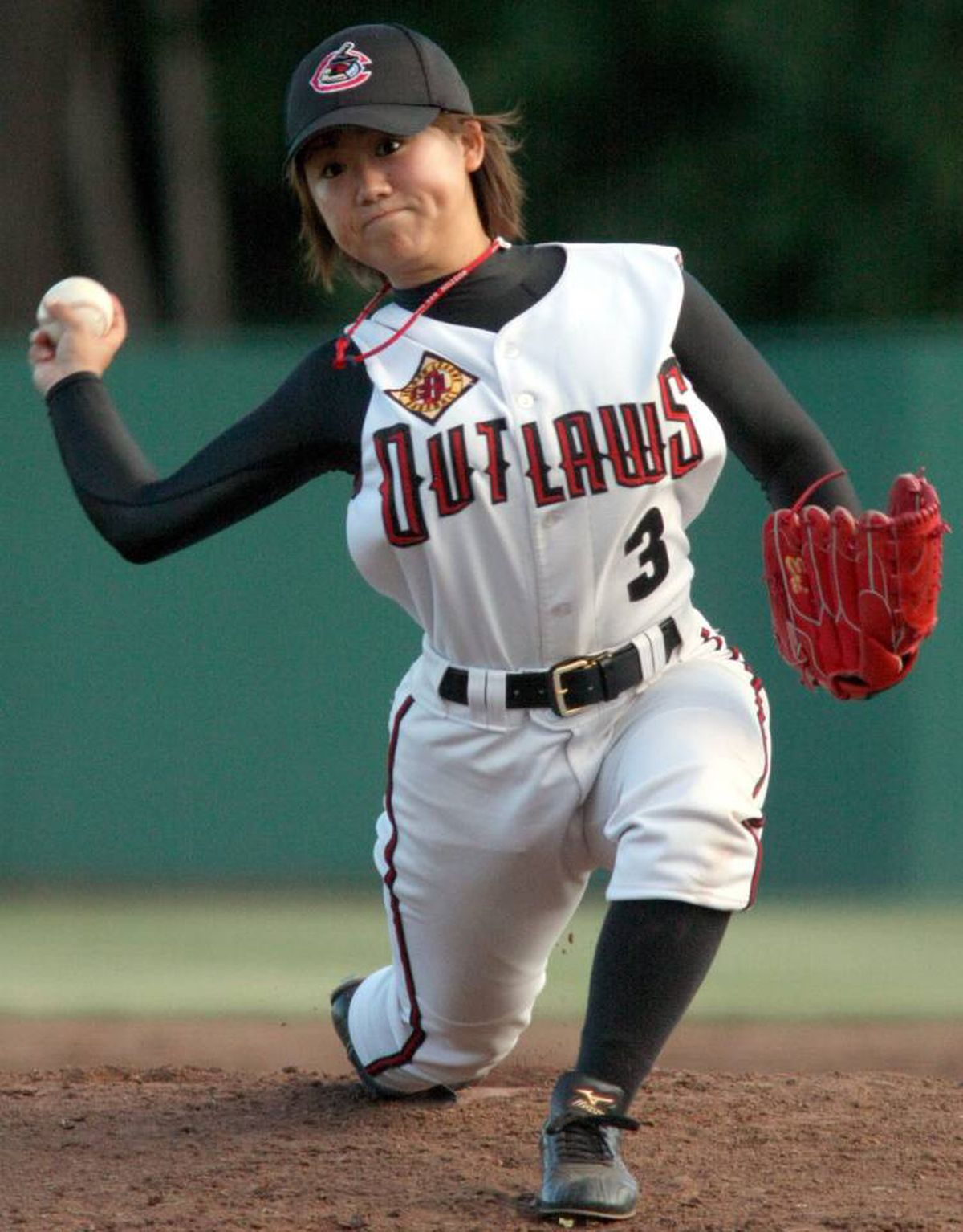 Chico Outlaws 18 year old female pitcher Eri Yoshida, of Japan, pitches against the Edmonton Capitals in the the second inning at Nettleton Stadium on June 24, 2010, in Chico, Calif.