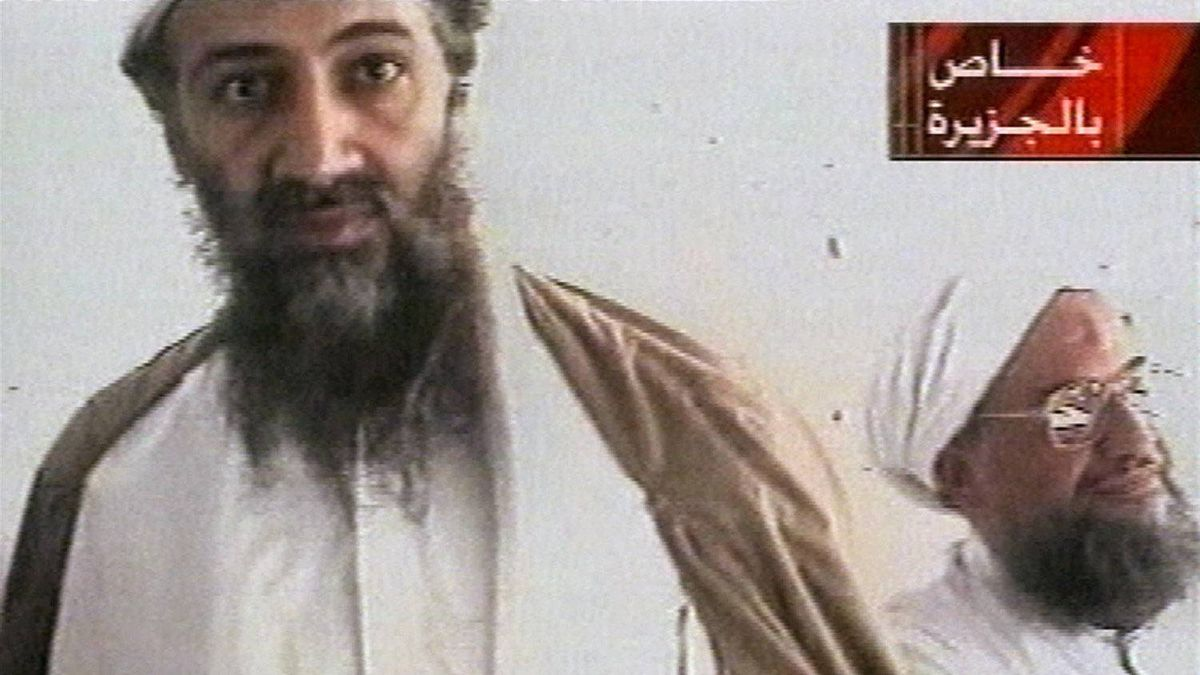An al-Jazeera television still from Oct. 5, 2001, purports to show al-Qaida leader Osama bin Laden, left, and his top lieutenant, Egyptian Ayman al-Zawahiri.