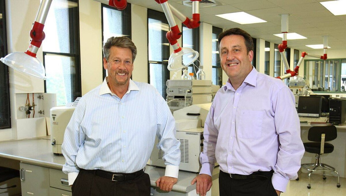 Ocean Nutrition marketing and sales head Jon Getzinger, left, and CEO Martin Jamieson in their company's research laboratory at in Dartmouth, N.S., Oct. 6, 2011.