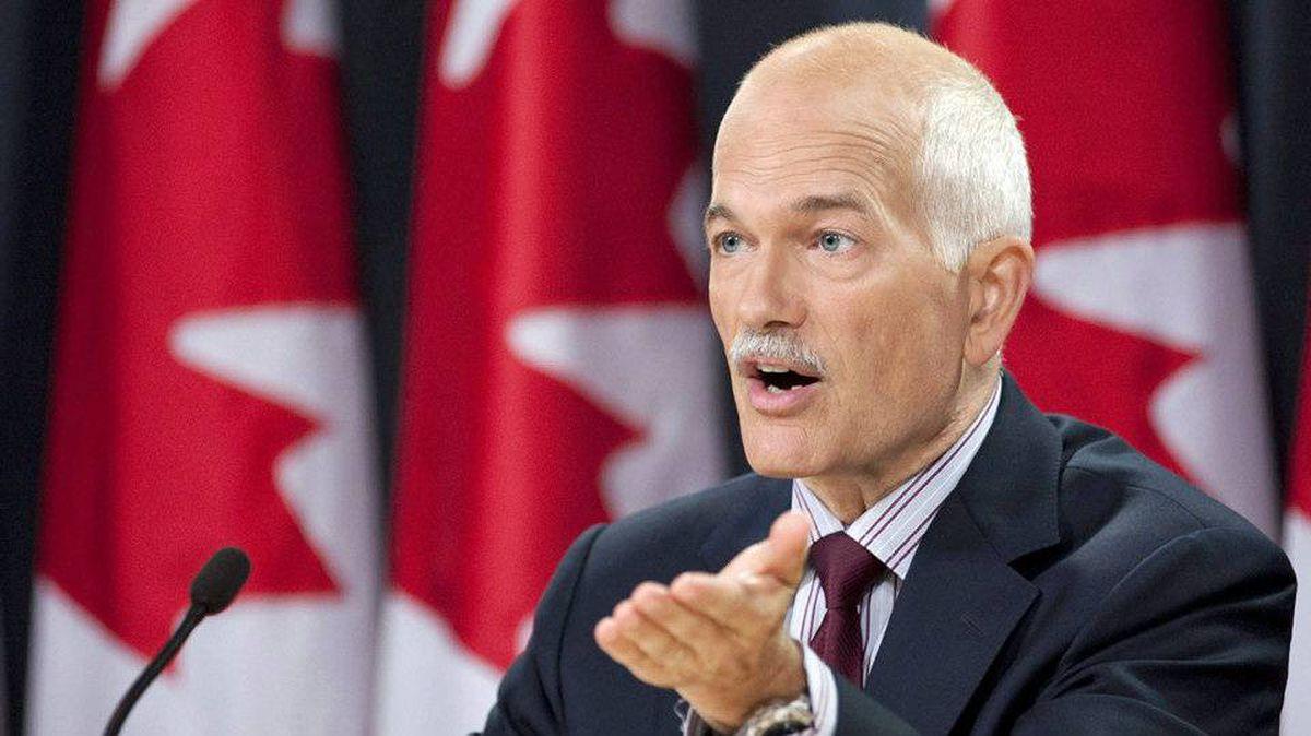 NDP Leader Jack Layton speaks to reporters in Ottawa on Aug. 30, 2010.