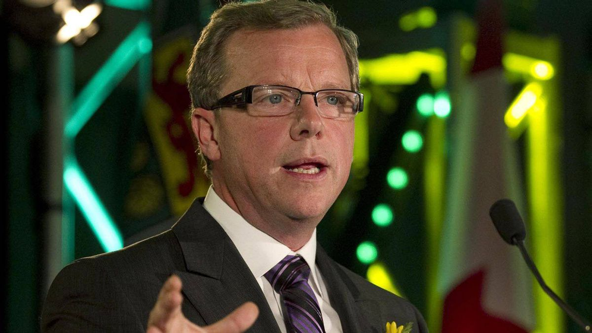 Saskatchewan Party Leader Brad Wall speaks to supporters at following his election victory, in his hometown of Swift Current, Sask., on Nov. 7, 2011.
