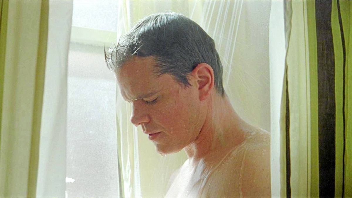Matt Damon takes a shower in Hereafter, directed by Clint Eastwood.