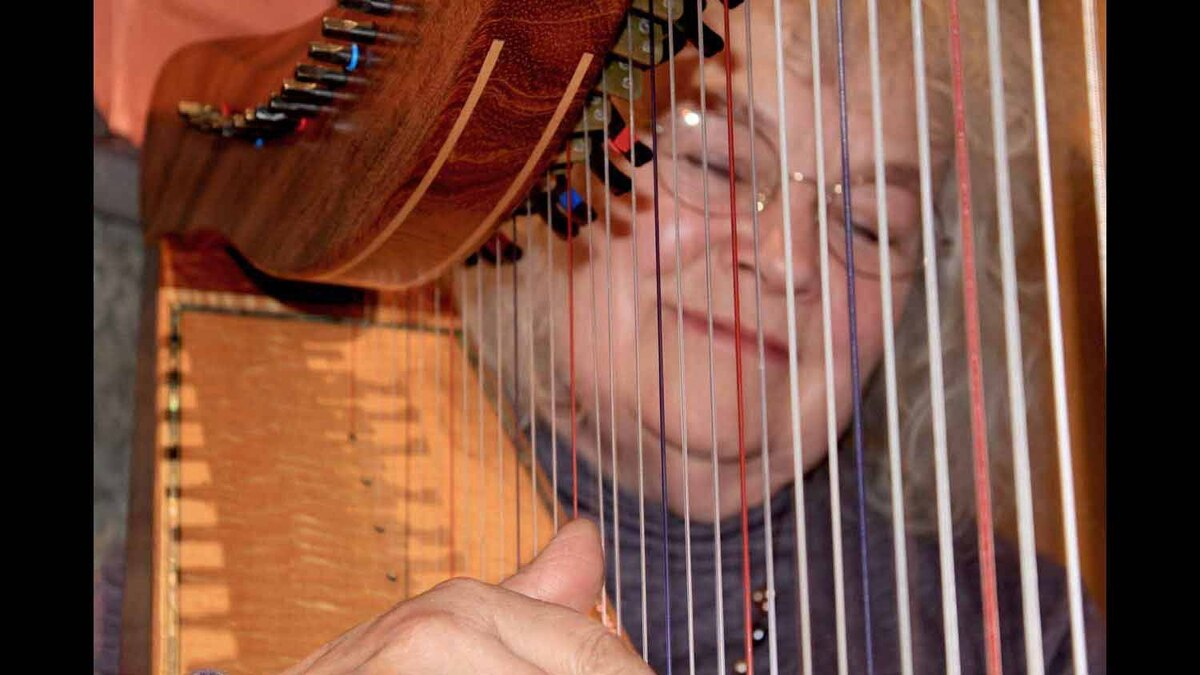 A harpist plays an art opening on Vancouver Island. Taken May 1, 2012.